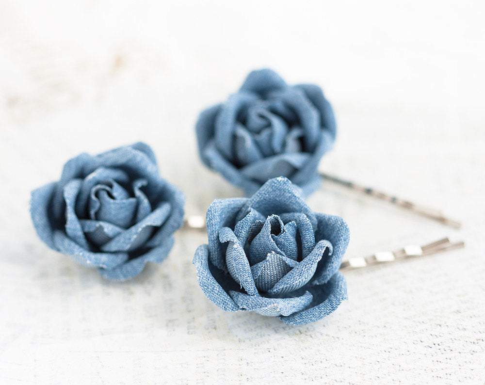 721_Blue hair flower pin, Hair accessories denim, Jean hair flowers, Rose pins, Hair accessories roses, Teenage hair accessories, Rose clips