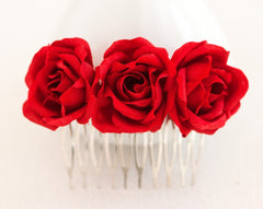 72_Red rose comb, Hair accessories bridal, For women, Hair comb, Red wedding, Hair comb wedding, Floral hair comb, Hair piece, Red flowers.