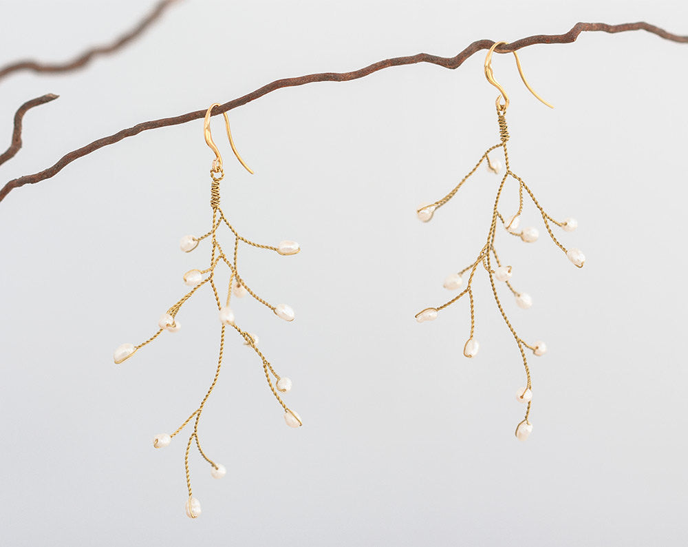 651_Gold earrings dangle, Dangle earrings, Pearl earrings wedding, White wedding, Gold bridal dangle earrings, Earrings dangle bride, Twig.