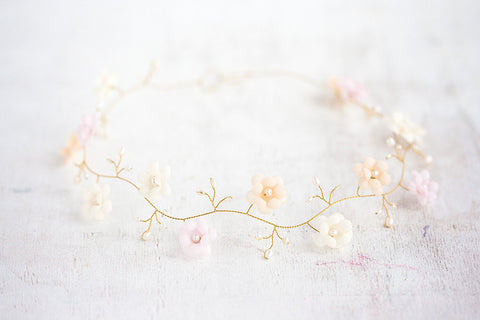 52_Gold crown, Silk flower hair crown, Bridal hair accessories, Pink crown, Wedding crown,  Peach flower crown wedding, Crown bridal, Bride.
