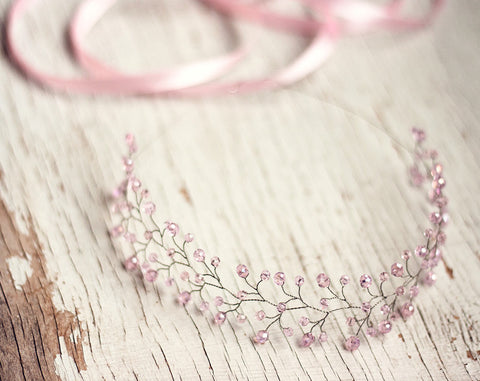 11_ Pink crown, Crystal crown, Silver tiara, Twig tiara,