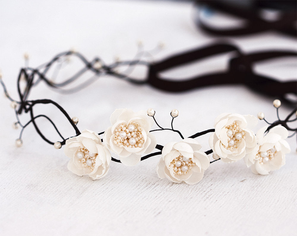 75flower Crown Hair Accessories Wedding Hair Piece Brown