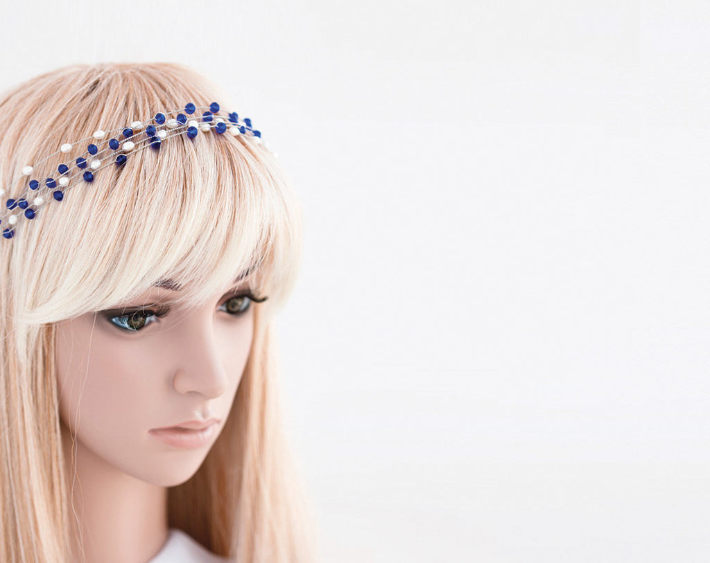 40_ Blue tiara, Silver crystal crown, Pearl tiara, White diadem.