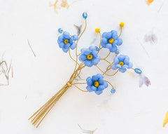 62_Forget-me-not boutonniere, Boutineers, Flower boutonniere, Blue boutonniere, Gold boutonniere, Groom accessories, Wedding accessories.