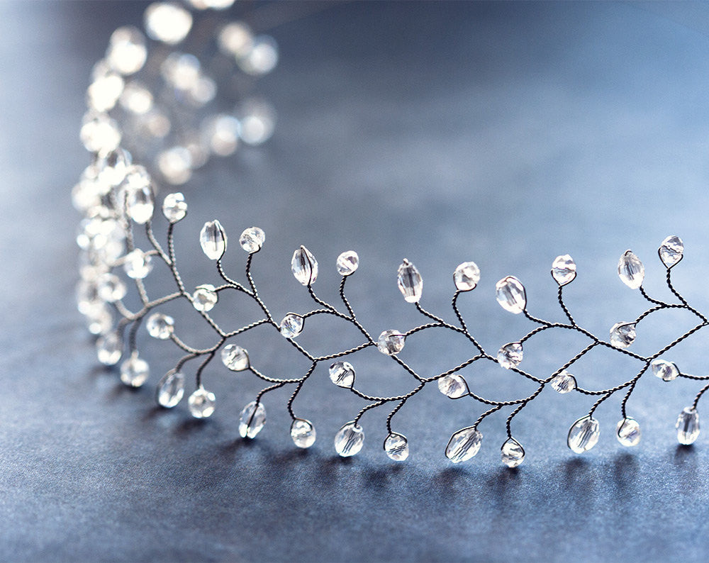 12_ Diadem crystals, Crystal Hair accessories, Silver headband.