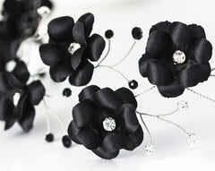 54_Black flower crown, Flower hair accessories, Hair flowers, Flower headband, Flower headpiece, Flower hair band, Floral hair piece, Tiara.