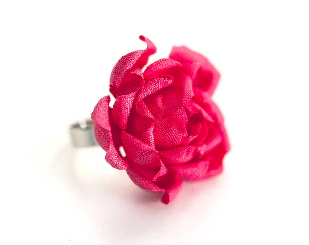 778_Rose ring, Flowers jewelry, Ring flower pink, Gift for girlfriend, Jewelry Gift for her, Flowers cotton ring, Floral ring, Rose jewelry.