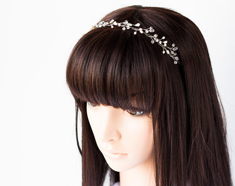 12_ Wedding headband, Silver pearl crown, Hair accessories.