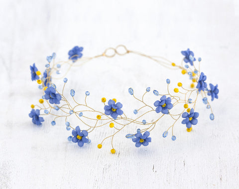 32_Gold tiara, Wedding hair piece, Blue circlet of flowers, Forget-me-not circlet, Floral headband. Hair accessories bride, Country wedding.