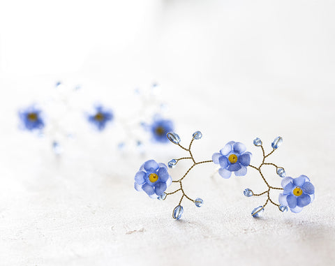 82_Flower hair pins, Pins for bride, Forget-me-not hair accessories, Blue flower pins, Gold hair pins, Hair accessories, Wedding hair piece.