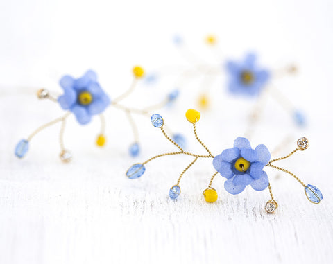 841_Gold hair pins, Blue flower pins, Bridal hair flowers, Forget-me-not hair accessories, Floral pins, Hair pins flowers, Hair flowers silk.