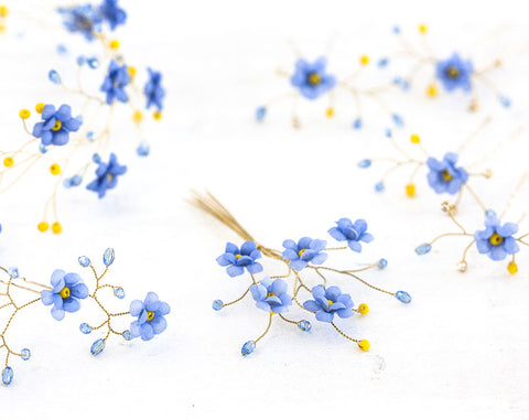 3262_Forget-me-not, Blue flower hair accessories, Wedding set, Bridal accessories, Groom accessories, Boutonniere, Flower crown Gold wedding