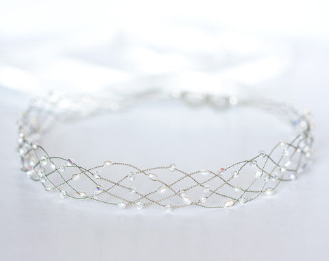 42_Clear crystal headband, Silver crown, Wedding hair accessories, Pearl hair piece, Hair accessories bride, Crystal crown, Wedding tiara.