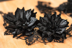 7141_Flower barrettes, Black hair accessories, Hair flower, Hair clips, Large hair clip, Big flower, Hair clips flowers, Hair pins flowers.