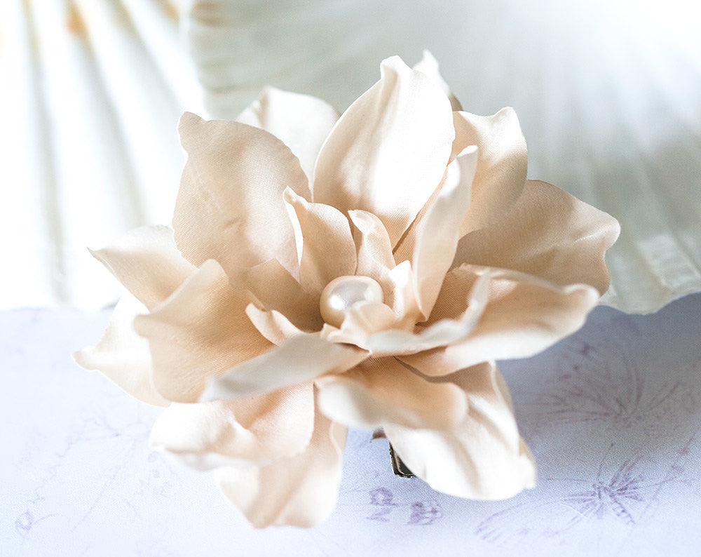 71411_Creamy hair flower, Provence wedding, Hair accessories, Wedding hair piece, Hair flower, Beige hair accessories, Bridal hair clips