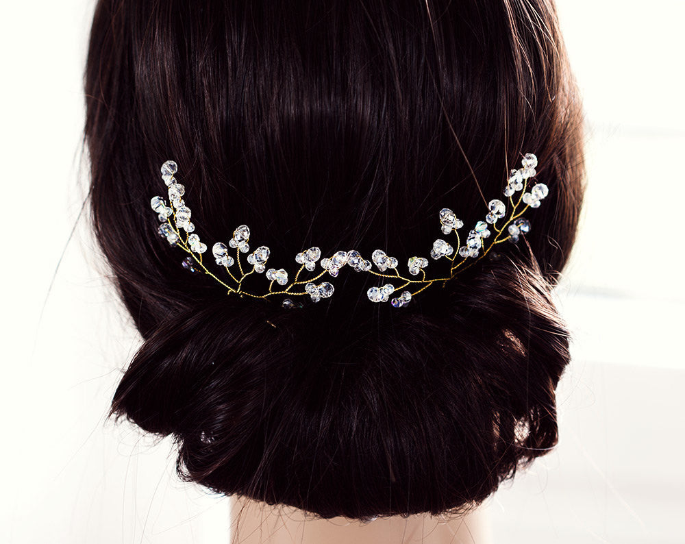 8222_Bridal hair accessories, Crystal hair pins, Hair accessories wedding, Bridal gold pins, Hair pins crystals, Clear crystal hair pins.