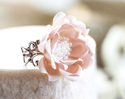 772_Delicate pink ring, Original gift,Flower jewelry, Bridesmaid gift, Flower Ring, Band ring, Bridesmaid gift idea, For her Adjustable ring