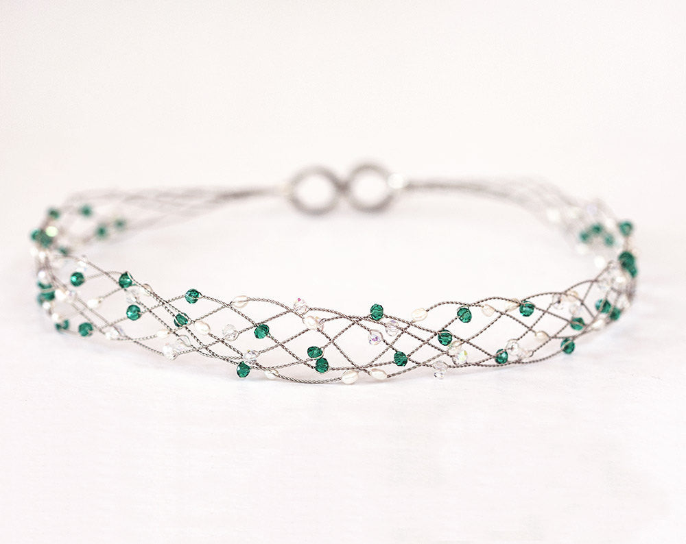 42_Emerald green crystal tiara,Silver headband, Grecian hair accessories, Emerald headband,Green party crown,Fantasy,Crystals headband.