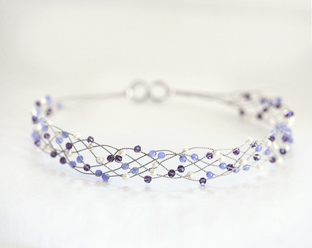 42_Purple wedding hair accessories, lilac bridal headband, purple headband bridal Crystals wedding accessories Pearls headband Silver bridal