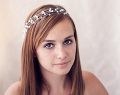 40 Pink crystals headband, Gold bridal hair accessory, Wedding.