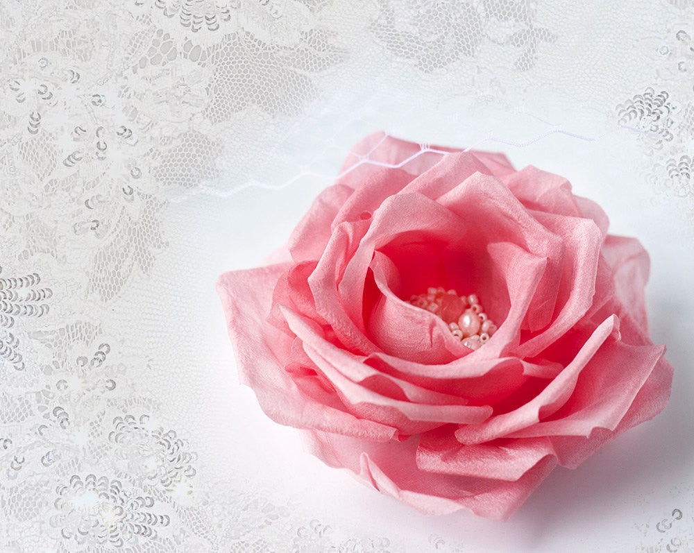 793_Pink rose hair clip, Big flower hair clip, Pink bridal hair clip, Accessories for hair, Hair clip, Pink rose, Maid of honour gift flower