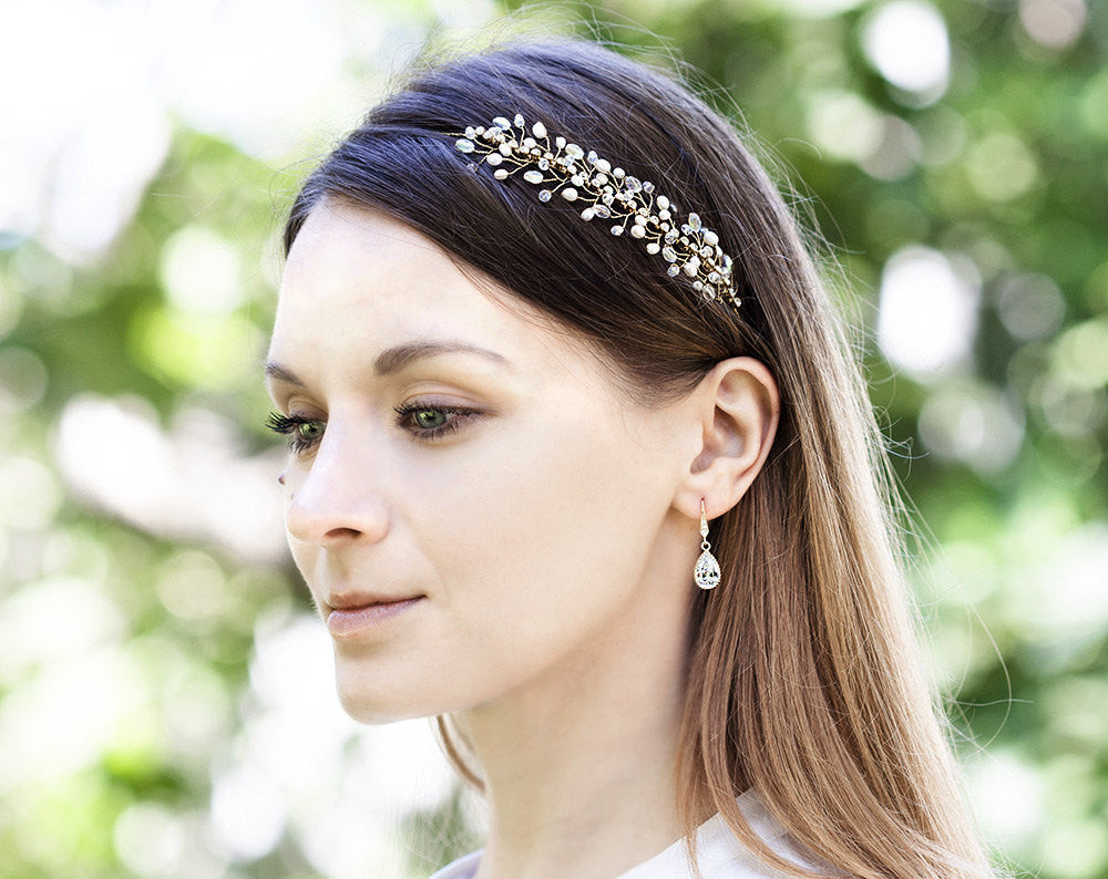 45_Rhinestone headband, Gold headband, Bridal rhinestones headband, gold wedding head band, Pearls headband, crystal bridal headband.