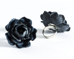 778_Denim flower, Blue flower, Ring, Rings, Flower ring, Floral ring, Denim style, Jean flower, Flower denim, Fabric  ring, Denim jewelry