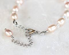 630_Pink pearl braclet, Silver pearl bracelet, Pearl crystals bracelet, Rose pearls bracelet, Rose bridal jewelry, Pearl crystals jewelry.