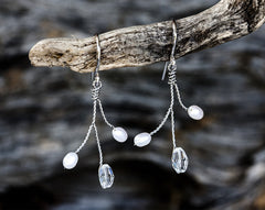 654_Earrings for bride, Silver pearl and crystals earrings, Wedding gift, Elegant earrings, Handmade earrings, Pearl jewelry, Gift for her.
