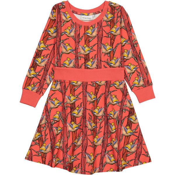 Duva dress in Nuthatch in Red Trees Print
