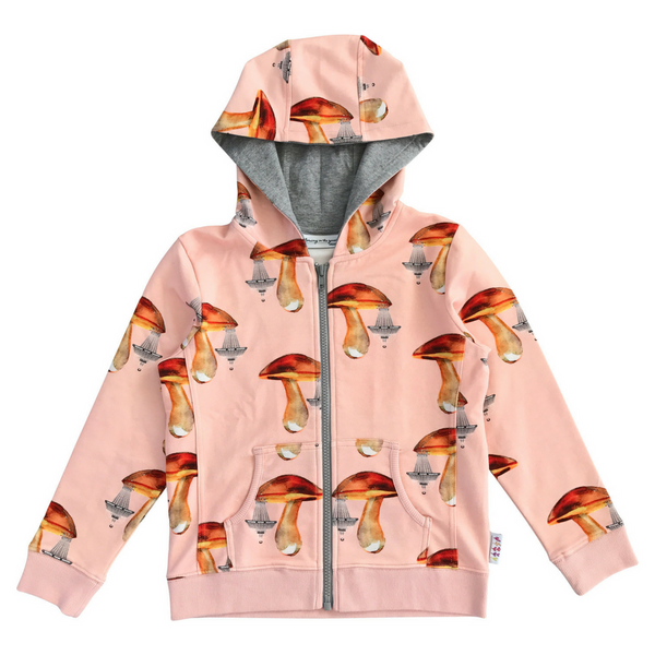 Eagel Hoody Jacket in Mushroom Chandeliers Salmon Print