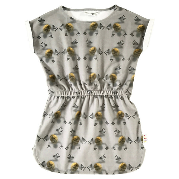 Albatross Dress in Melon Frogs Print