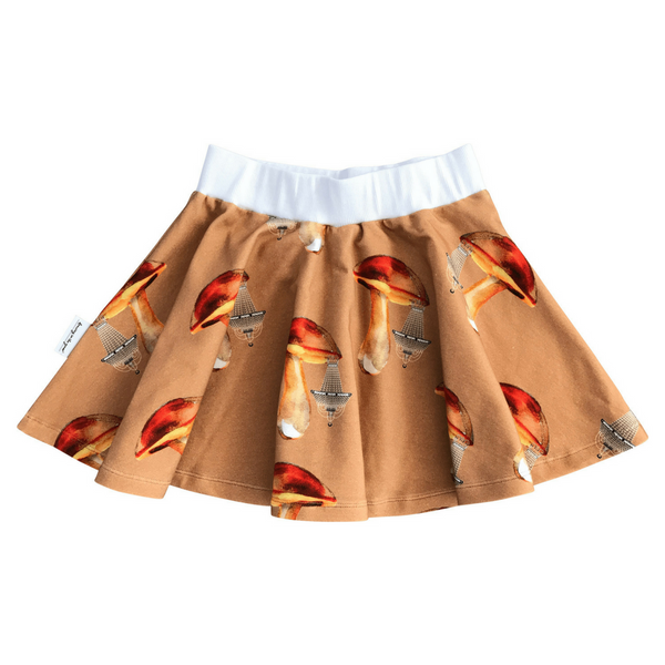 Pigeon Hula Skirt in Mushroom Chandeliers Walnut Print