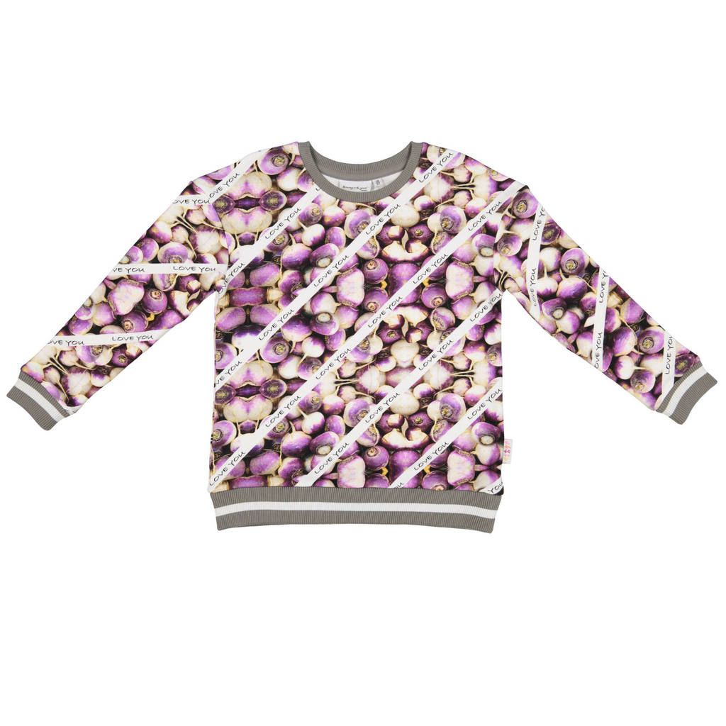 Owl Sweatshirt in Turnips I love U Print