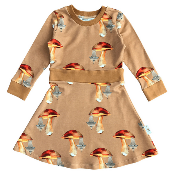 Duva dress in Mushroom Chandeliers Walnut Print