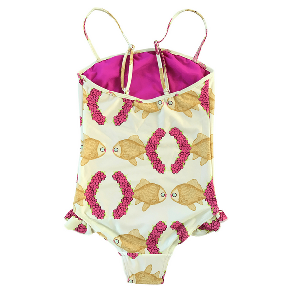 Seagull Swimsuit in Raspberry Fish Print