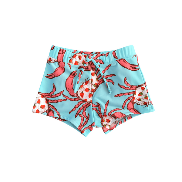 Boys Swim shorts in Strawberry Crab Print