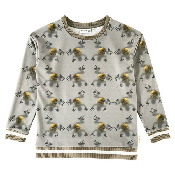 Owl Sweatshirt in Melon Frogs Print