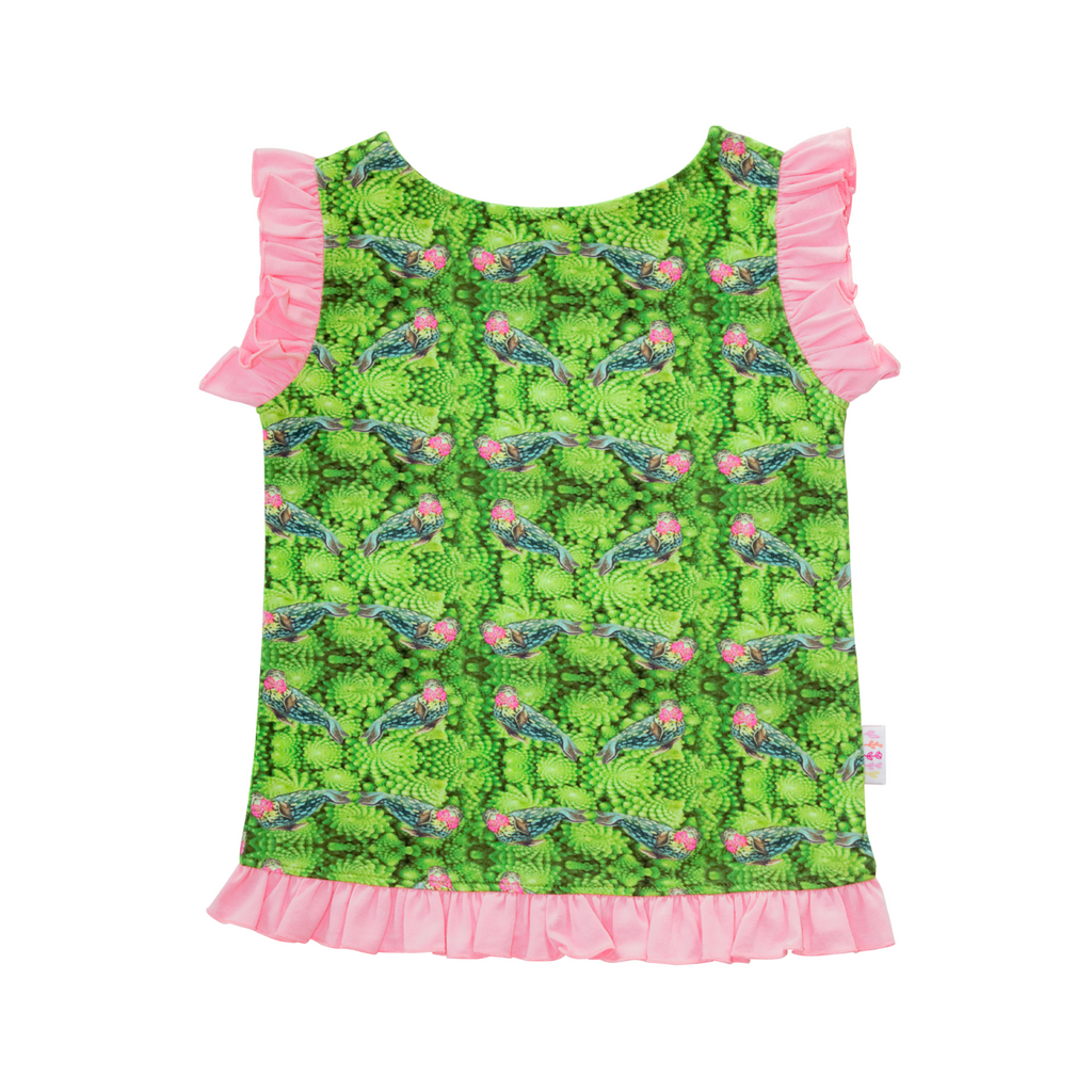 Tärna top in Broccoli with Happy Seal Print