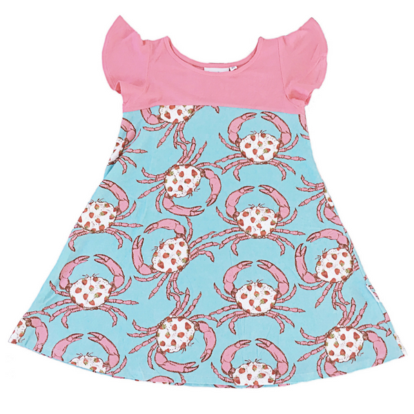 Butterfly Dress in Strawberry Crab Print