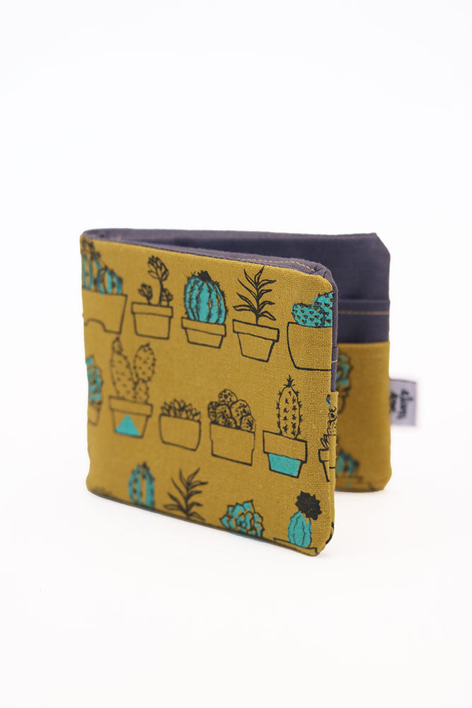 Yellow Linen Succulents Bifold Fabric Wallet