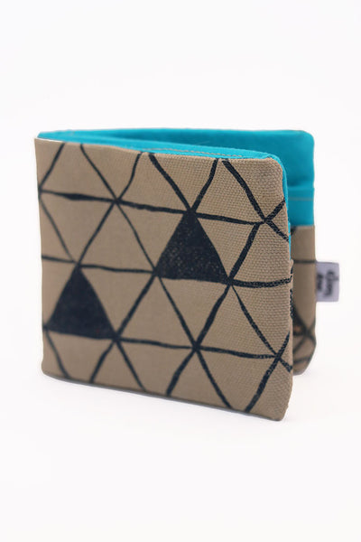 Tan Canvas Triangles Bifold Fabric Wallet