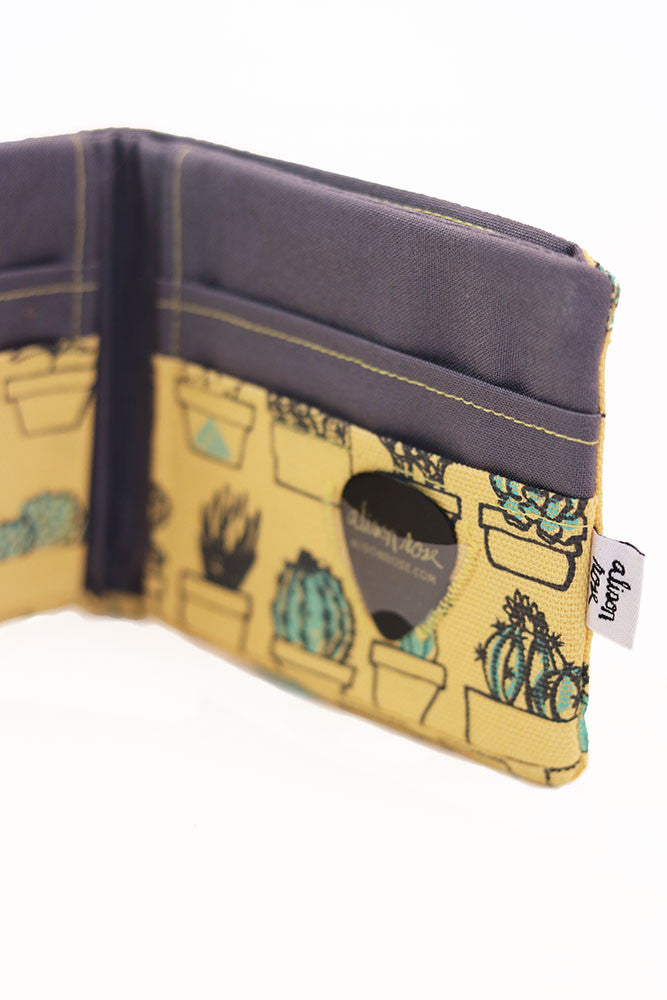 Yellow Canvas Succulents Bifold Fabric Wallet