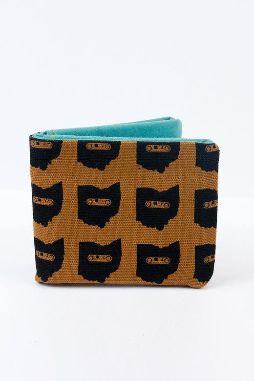 Brown Canvas Ohio Mixtape Bifold Fabric Wallet