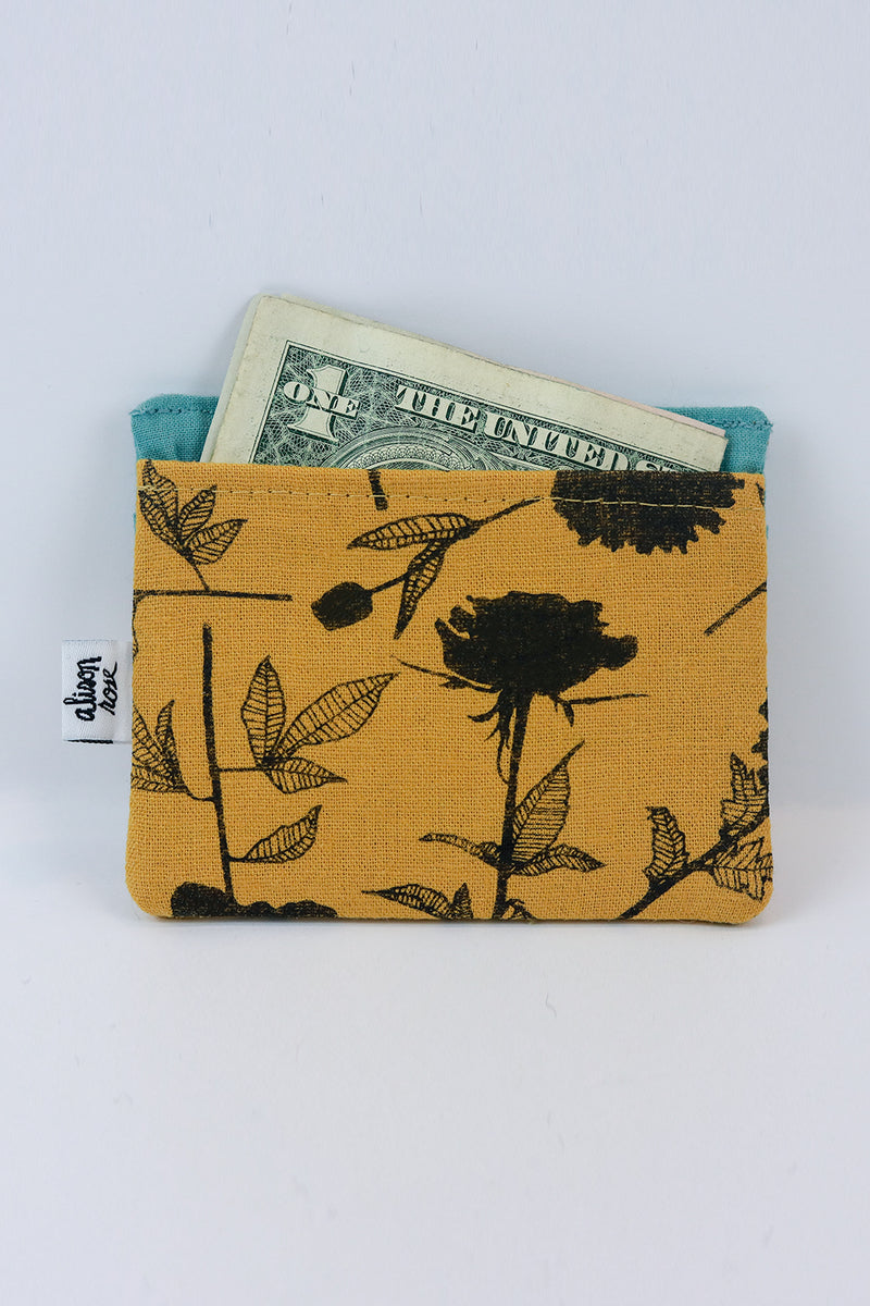 Yellow Linen Flowers Slim Fabric Wallet