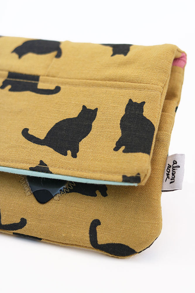 Mustard Yellow Kitties Zipper Wallet