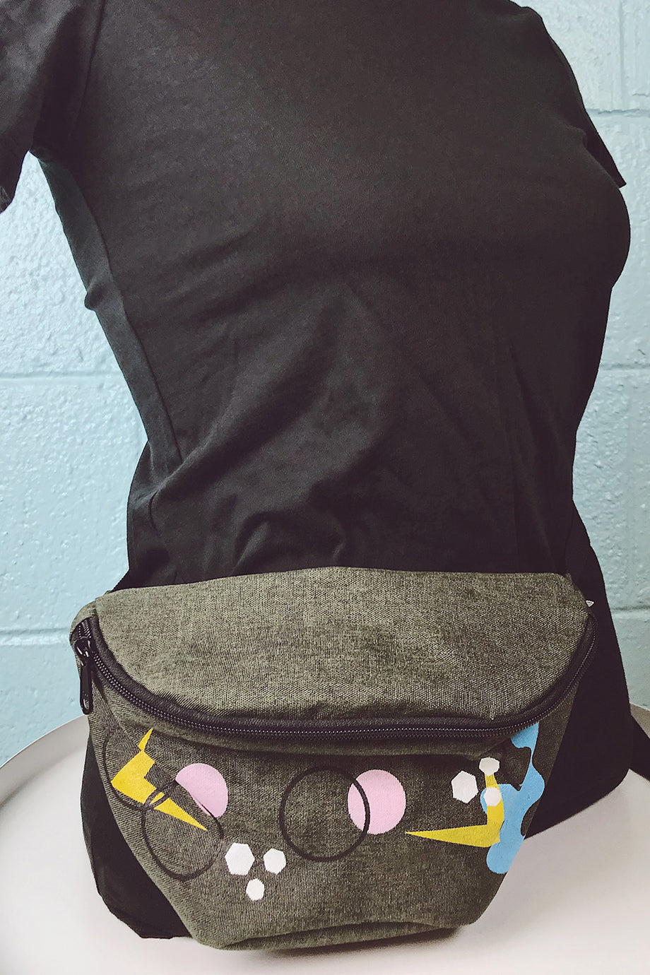 Army Green Hand Printed Fanny Pack