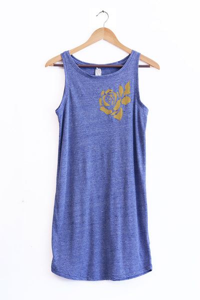 Rose Cut-Out Heather Blue Triblend Tank Dress