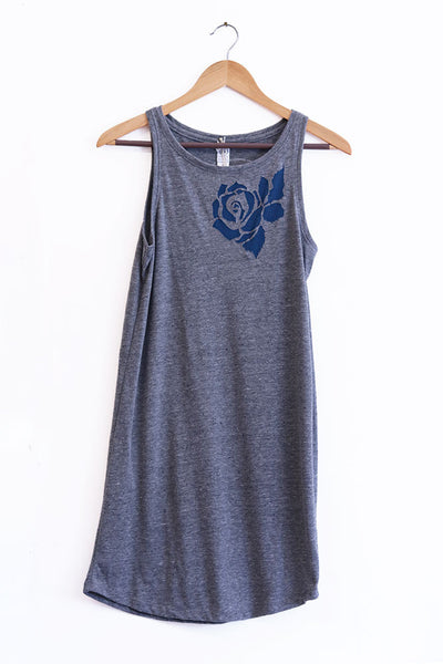 Rose Cut-Out Heather Black/grey Triblend Tank Dress
