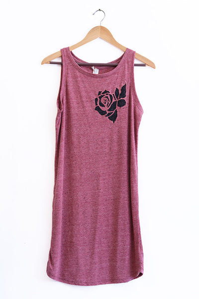 Rose Cut-Out Heather Red Triblend Tank Dress